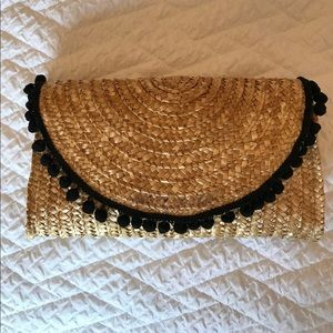 Handbags - Woven Straw Clutch with Pompoms
